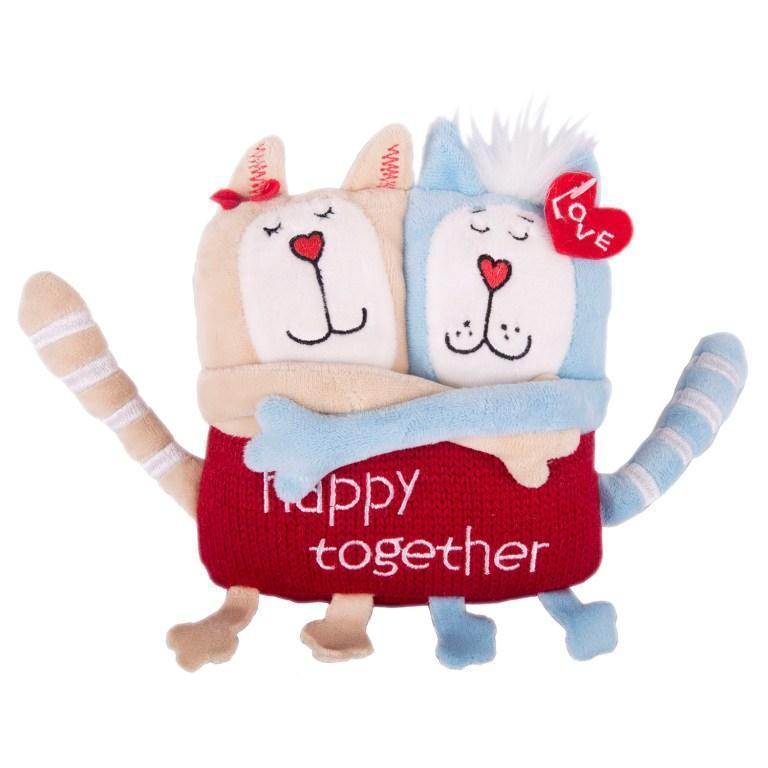 """Мягкая игрушка Кот и Кошка """"Счастливы вместе"""", 15 см"""