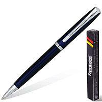 """Ручка подарочная шариковая BRAUBERG """"Cayman Blue"""" бизнес-класса, корпус синий, серебрист. детали, синяя, 141409"""