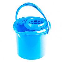 Ведро пластмассовое круглое с отжимом 9 л, голубое, Россия Elfe, фото 1