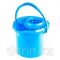 Ведро пластмассовое круглое с отжимом 9 л, голубое, Россия Elfe