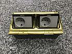 Лючок напольный на 6 модулей, металл, цвет золото, фото 3