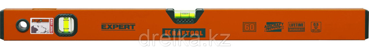 Уровень коробчатый, KRAFTOOL 34710-060, 2 ампулы, 0,5 мм/м, 600мм