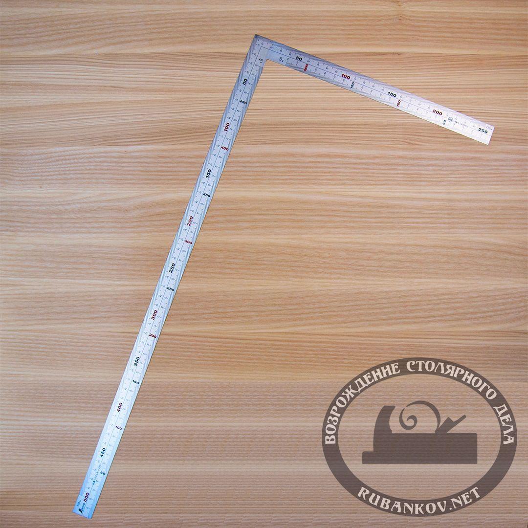 Угольник плоский Shinwa, 500*250мм, отсчёт нижней шкалы - ко внутреннему углу