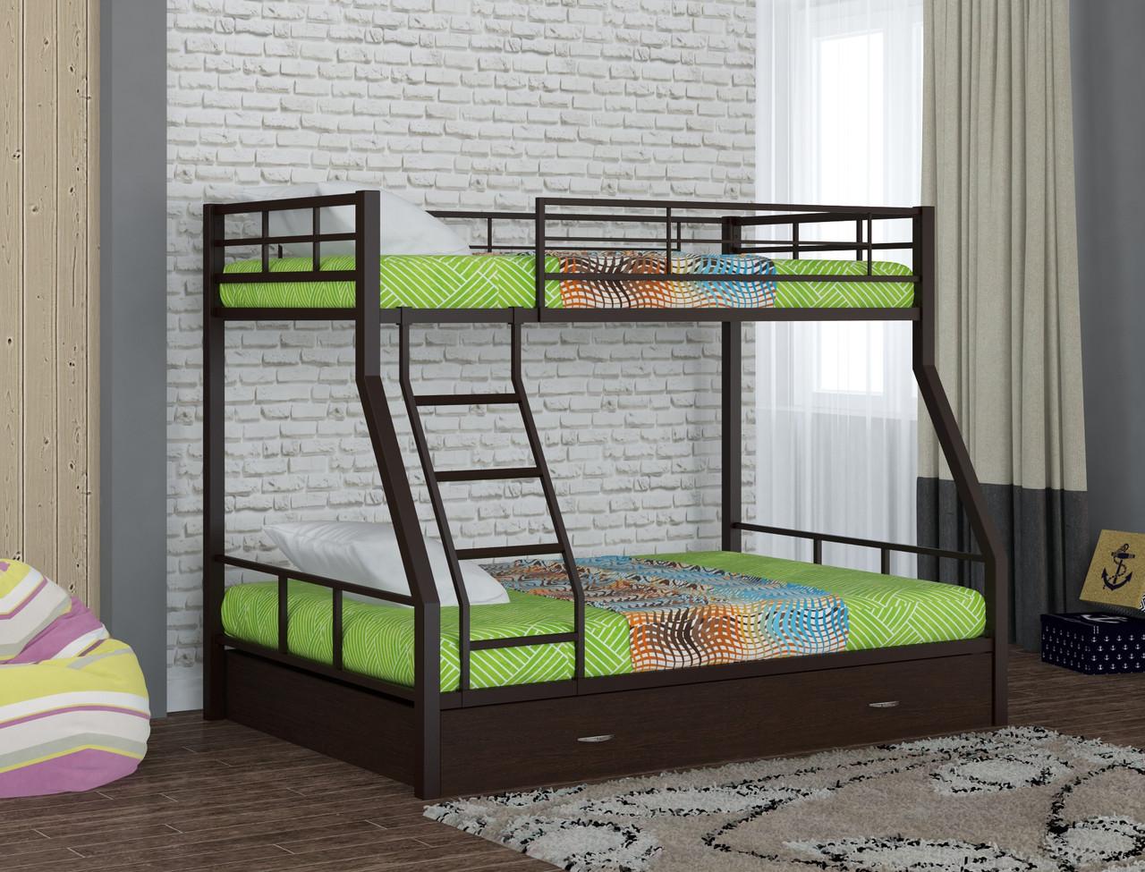Кровать двухъярусная Гранада-1, коричневый  в комплекте ящик выкатной 1200 венге