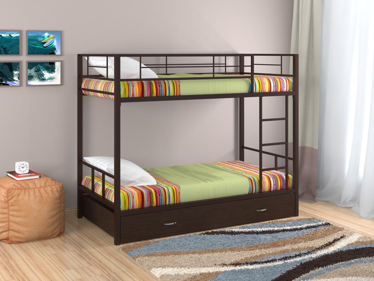Кровать двухъярусная Севилья -2,  коричневый в комплекте ящик выкатной 900 венге