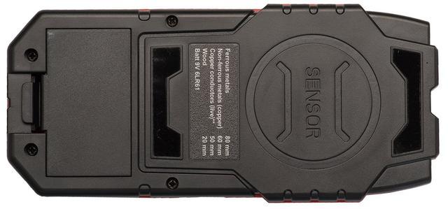 Сенсор детектора ADA Wall Scanner 80 обозначен кругом на задней стороне прибора