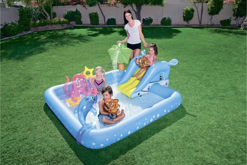 Надувной бассейн «Аквариум» с горкой Bestway 53052 (239х206х86 см)