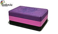 Блок для йоги трехцветный премиум в коробке, фото 1