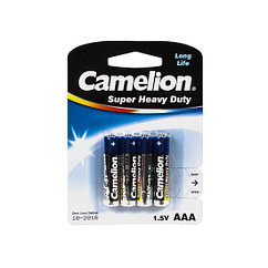 Батарейка, CAMELION, R03P-BP4B, Super Heavy Duty, AAA, 1.5V, 550mAh, 4 шт., Блистер