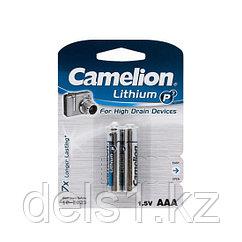 Батарейка, CAMELION, FR03-BP2, Lithium P7, AAA, 1.5V, 1250 mAh, 2 шт., Блистер