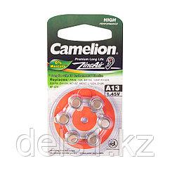 Батарейка, CAMELION, для слуховых аппаратов A13-BP6(0%Hg),  Zinc Air, A13, 1.45V, 0% Ртути, 6 шт., Блистер