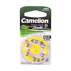Батарейка, CAMELION, для слуховых аппаратов A10-BP6(0%Hg),  Zinc Air, A10, 1.45V, 0% Ртути, 6 шт., Блистер