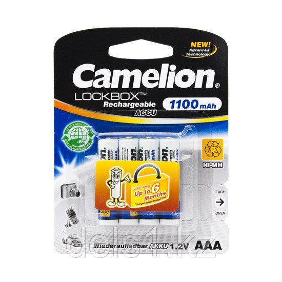 Аккумулятор, CAMELION, NH-AAA1100LBP4, Lockbox Rechargeable, AAA, 1.2V, 1100 mAh, 4 шт., Блистер