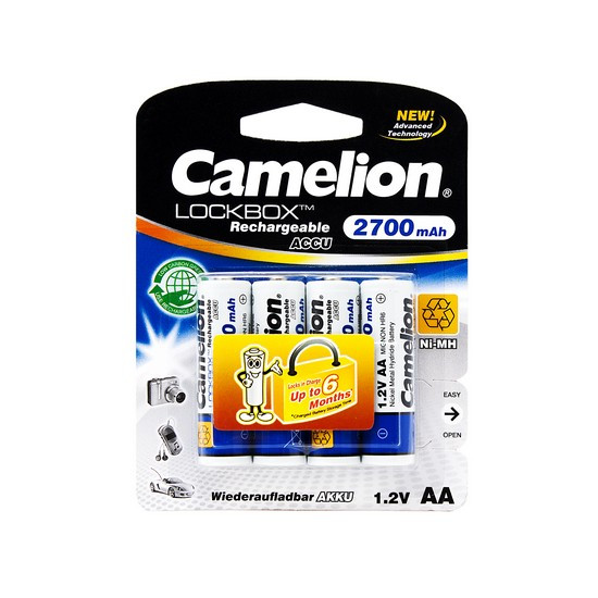 Аккумулятор, CAMELION, NH-AA2700LBP4, Lockbox Rechargeable, AA, 1.2V, 2700 mAh, 4 шт., Блистер