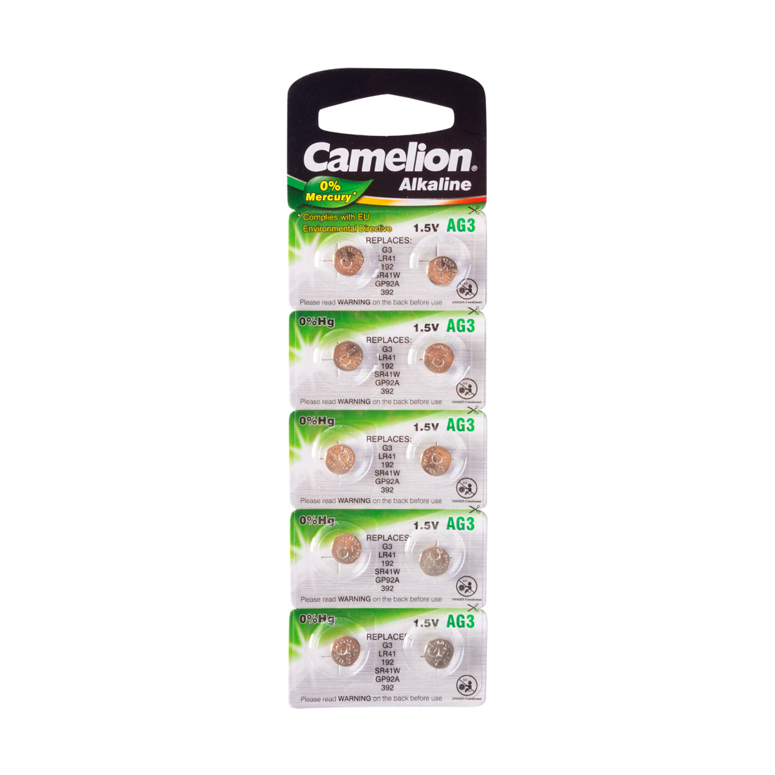 Батарейка, CAMELION, AG3-BP10(0%Hg), Alkaline, AG3, 1.5V, 0% Ртути, 10 шт., Блистер