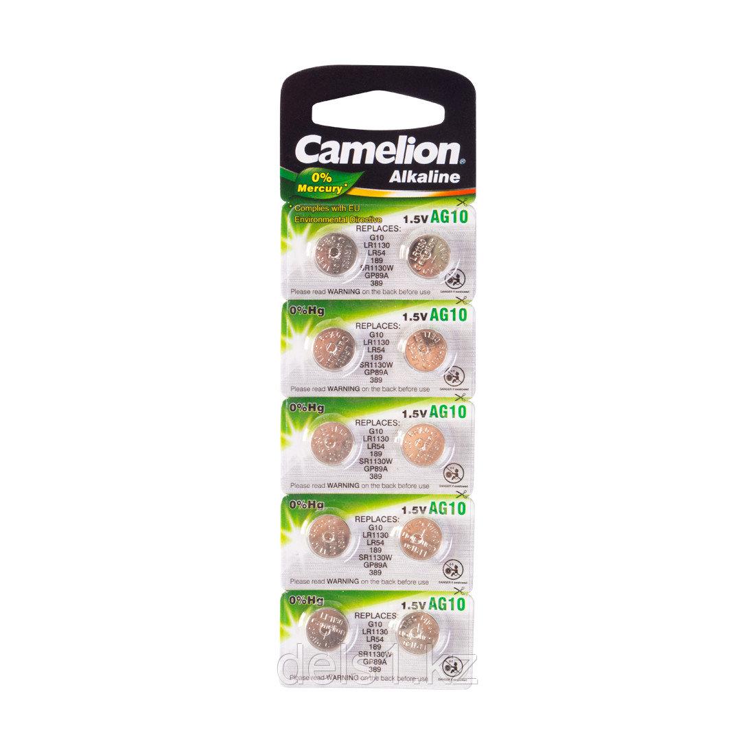 Батарейка, CAMELION, AG10-BP10(0%Hg),  Alkaline, AG10, 1.5V, 0% Ртути, 10 шт., Блистер