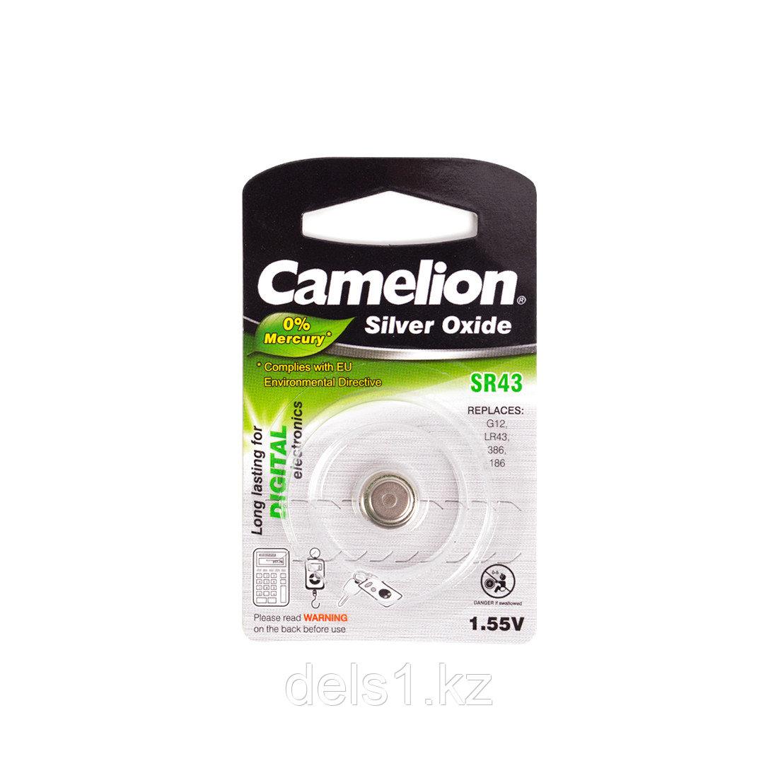 Батарейка, CAMELION, SR43-BP1(0%Hg) , Silver Oxide, 1.55V, 0% Ртути, 1 шт., Блистер