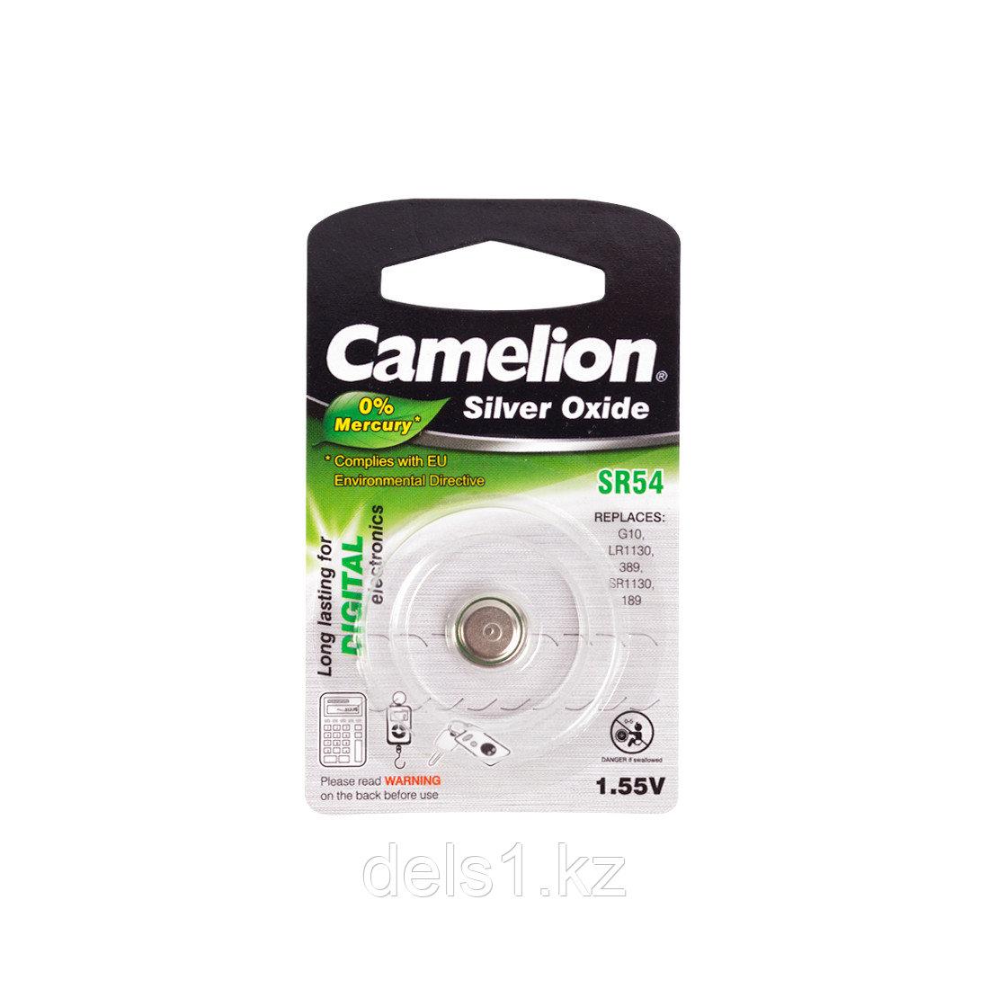 Батарейка, CAMELION, SR54-BP1(0%Hg) , Silver Oxide, 1.55V, 0% Ртути, 1 шт., Блистер