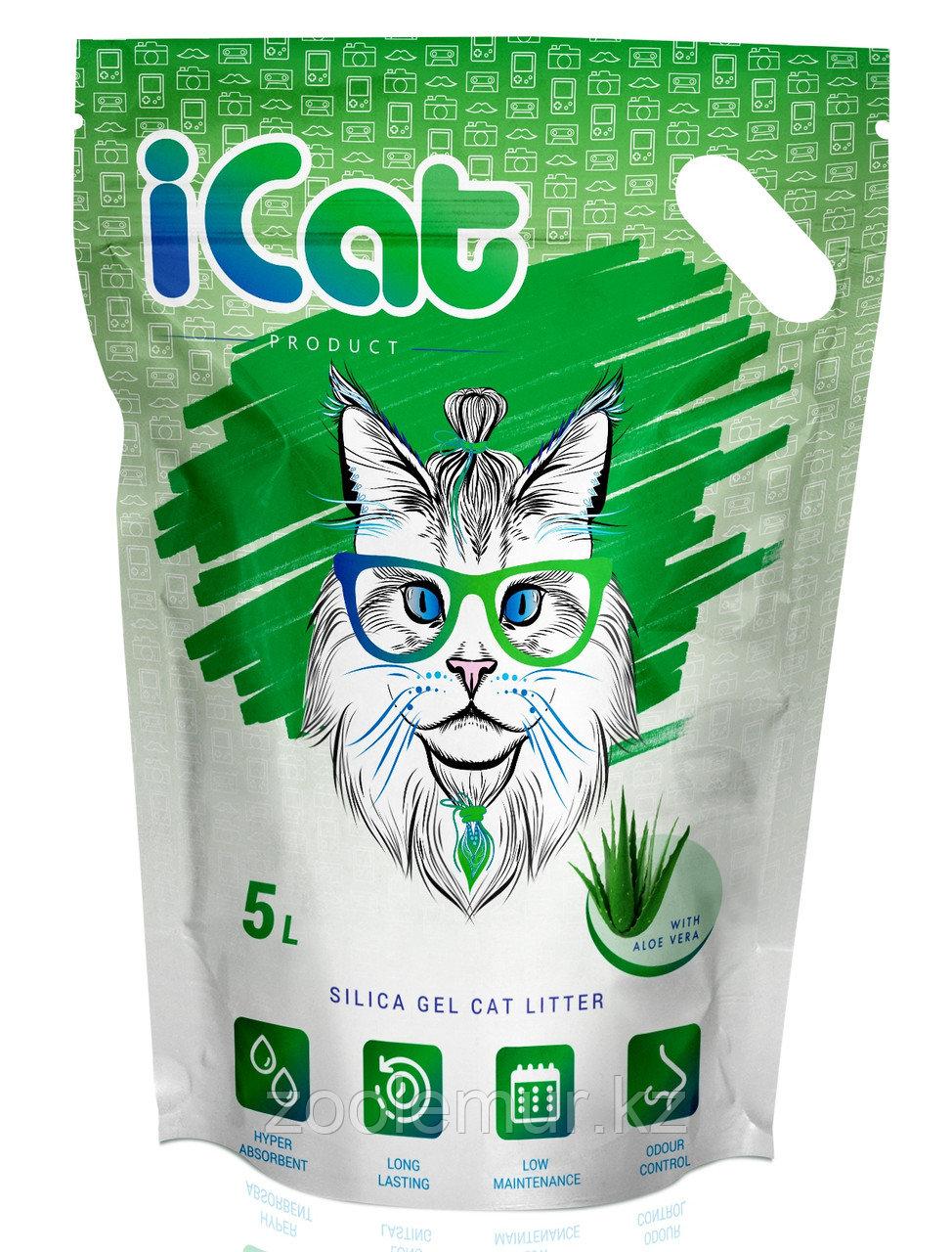 ICat aloe, силикагелевый наполнитель 5 л, с ароматом «алое вера»