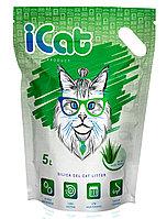 ICat aloe, силикагелевый наполнитель 5 л, с ароматом «алое вера», фото 1