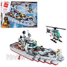 Конструктор COMBAT ZONE BRICK 1722 ВОЕННЫЙ КОРАБЛЬ аналог лего Lego 539 детали