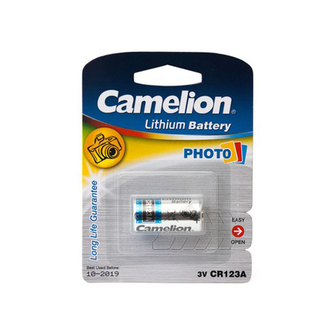 Батарейка, CAMELION, CR123A-BP1, 3V, 1300 mAh, Lithium, 1 шт., Серебристый