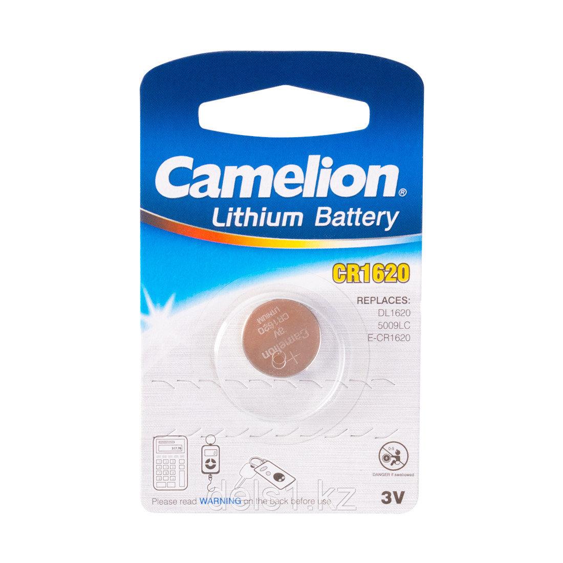 Батарейка, CAMELION, CR1620-BP1, Lithium Battery, CR1620, 3V, 220 mAh, 1 шт.