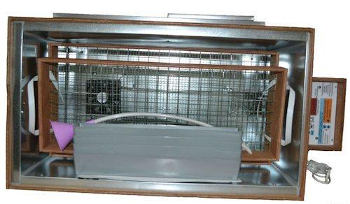 Инкубатор оснащен двумя вентиляторами