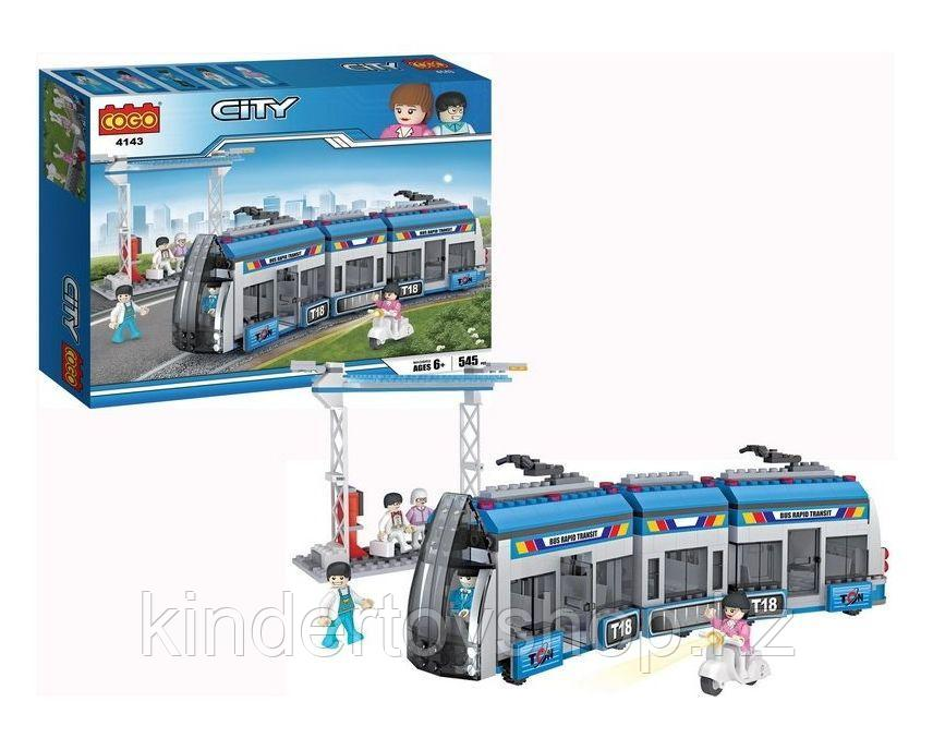 Конструктор COGO CITY 4143  Городской трамвай 545 деталей аналог  Lego 8404