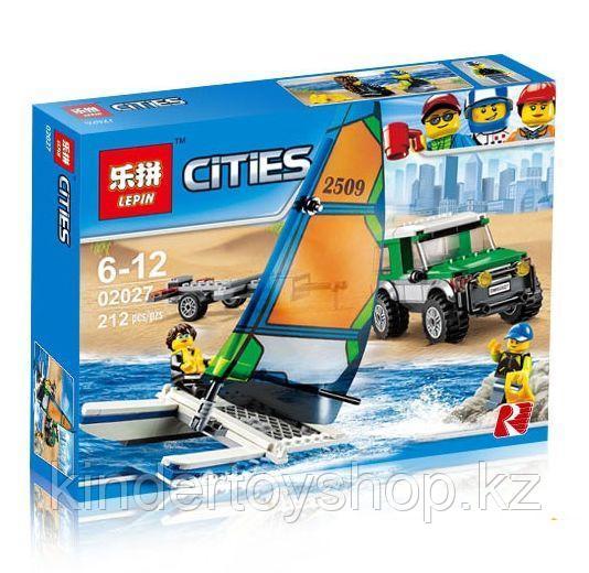 Конструктор LEPIN City 02027 Внедорожник с прицепом для катамарана 212 деталей аналог Lego 60149