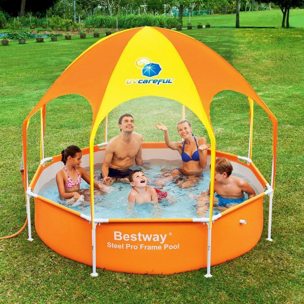 ДЕТСКИЙ Каркасный бассейн с навесом  Steel Pro Bestway 56432 (244x51 см)