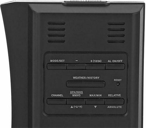 Метеостанция управляется девятью клавишами, расположенными на задней панели