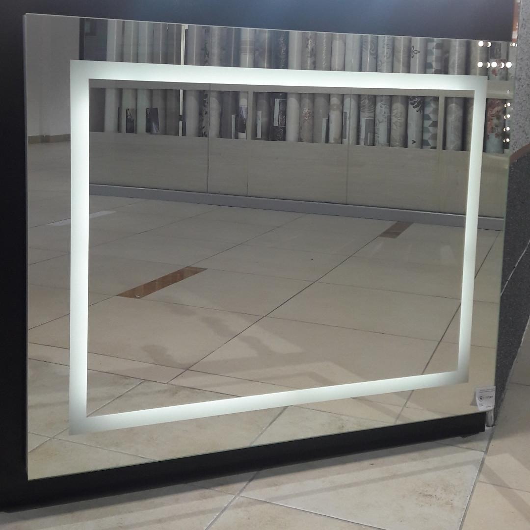 Зеркало с LED-подсветкой и пескоструйным рисунком, 1000(Ш)х800(В)мм