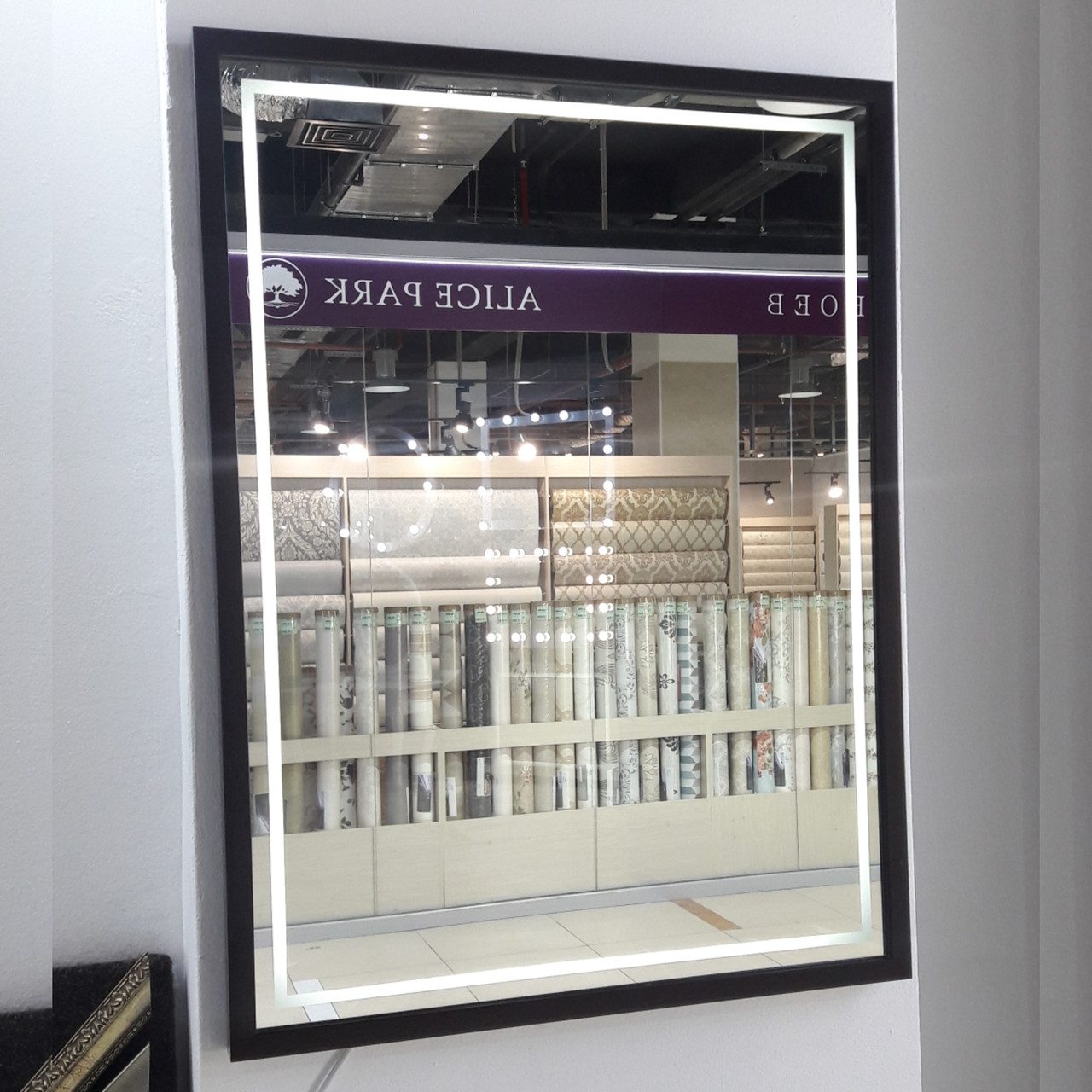 Зеркало с LED-подсветкой и пескоструйным рисунком, 800(В)х600(Ш)мм