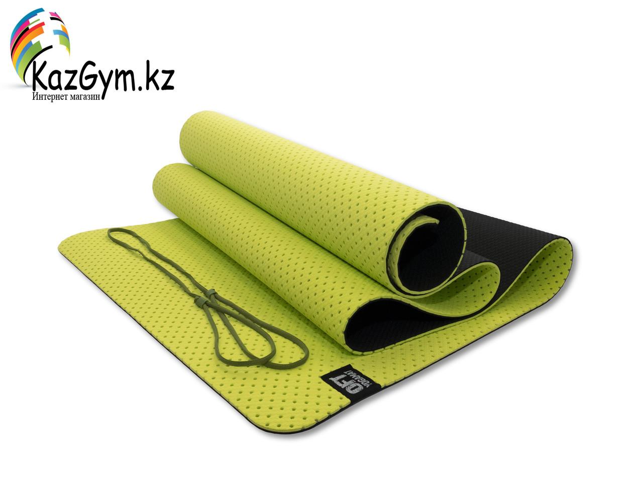 Мат для йоги 6 мм двухслойный перфорированный оливковый (FT-YGM6-3DT-OLIVE) - фото 1