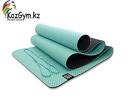 Мат для йоги 6 мм двухслойный перфорированный морская волна (FT-YGM6-3DT-LAKEBLUE)