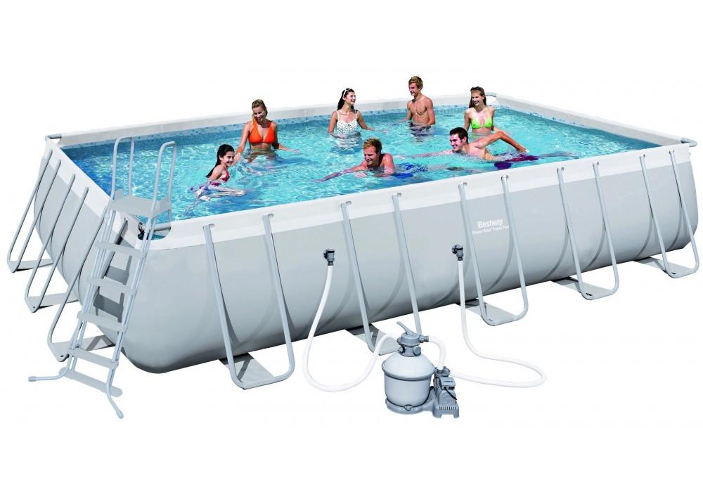 Каркасный бассейн прямоугольный BestWay, 671х366х132см, фильтр-насос песчанный 5678 л/ч 56470/56272