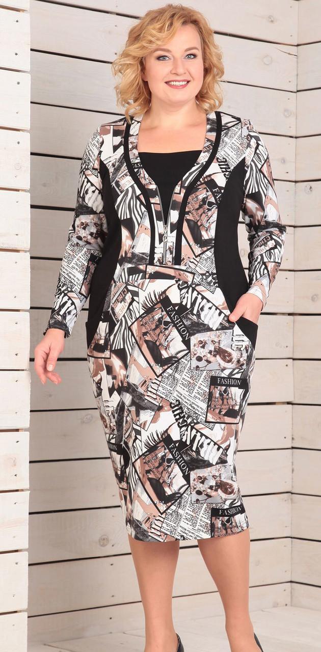 Платье Novella Sharm-2742, молочно-бежевые тона с черным, 62