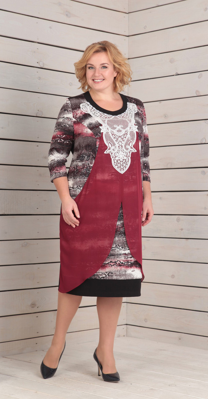 Платье Novella Sharm-2861, черно-белые тона с бордо, 62