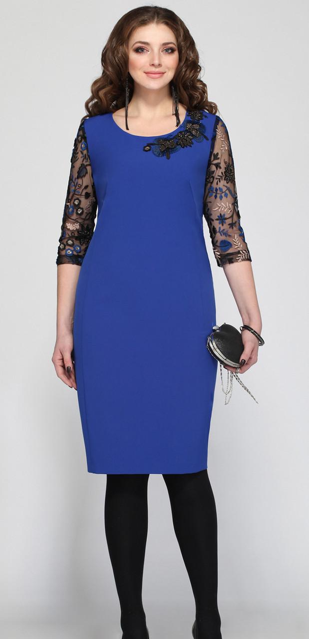 Платье Matini-31036, синие тона, 52