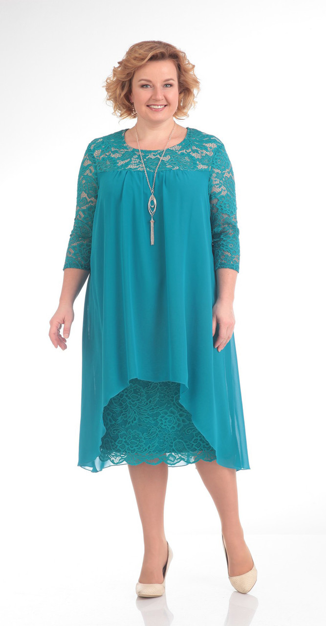 Платье Pretty-642/1, бирюза, 56