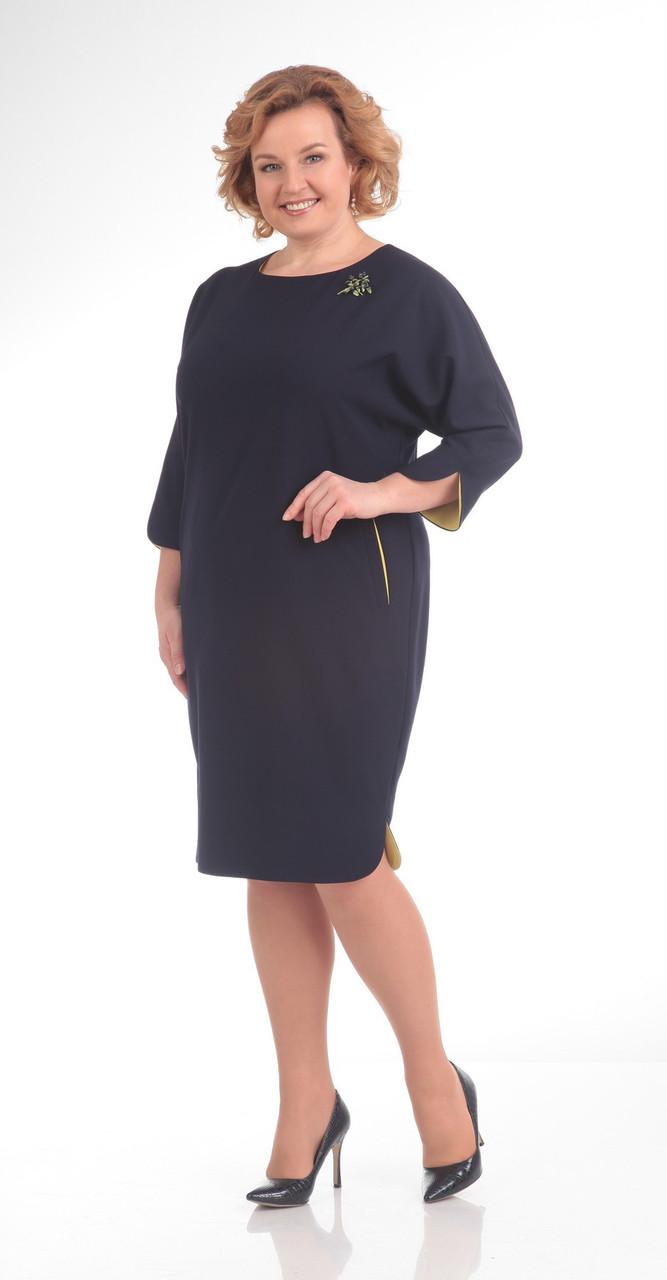 Платье Pretty-647/2, темно-синий+желтый, 56