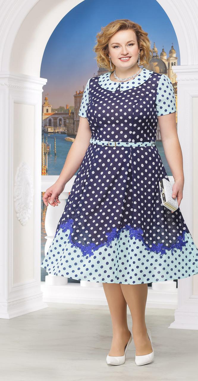 Платье Ninele-5522/2, синий горох, 48