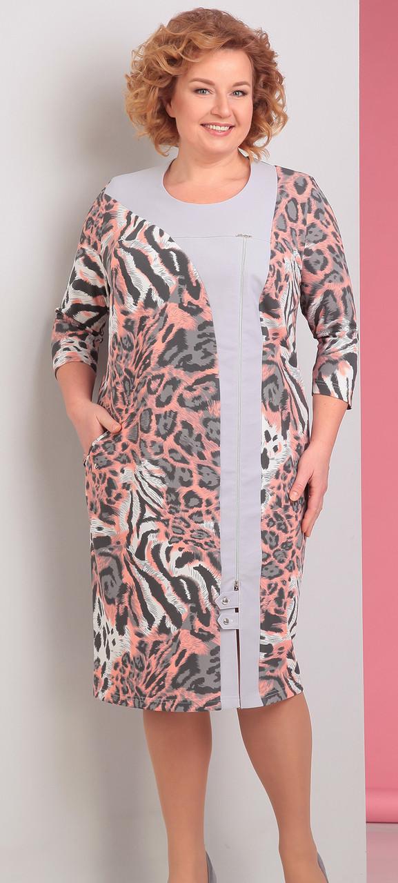 Платье Novella Sharm-2951, серо-розовые тона-леопард, 64