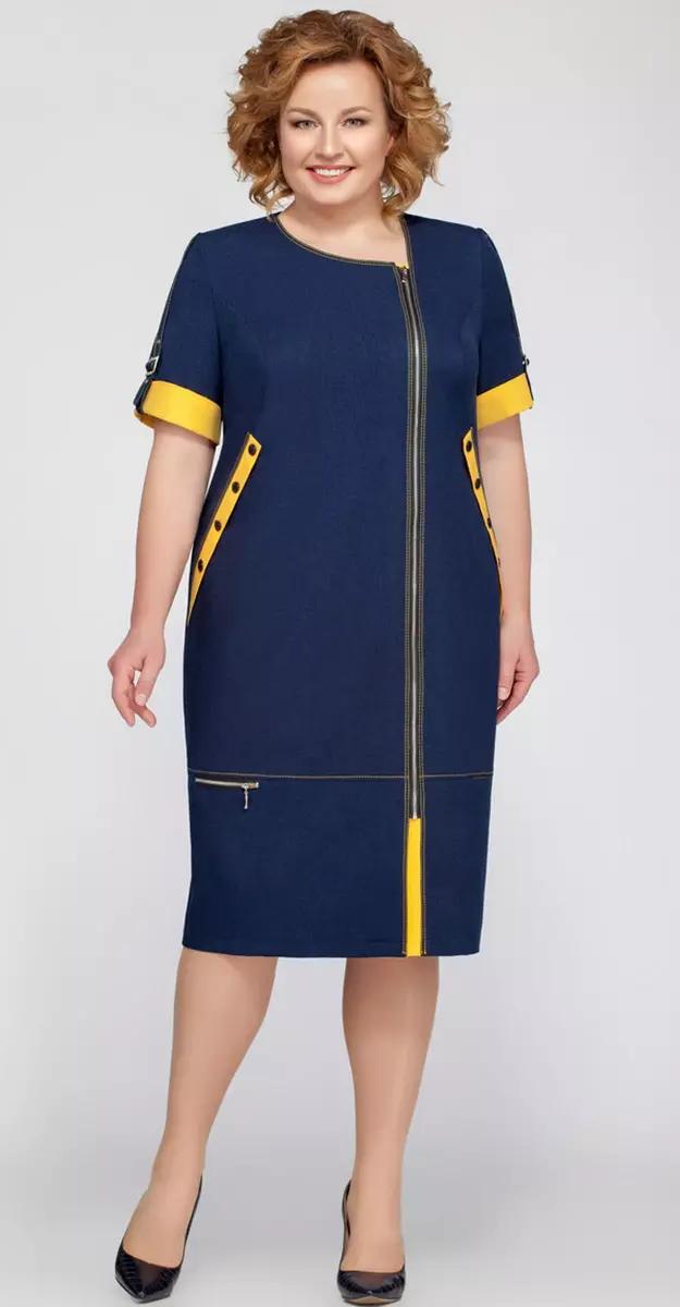 Платье Теллура-Л-1201.1/1, синий с горчицей, 48