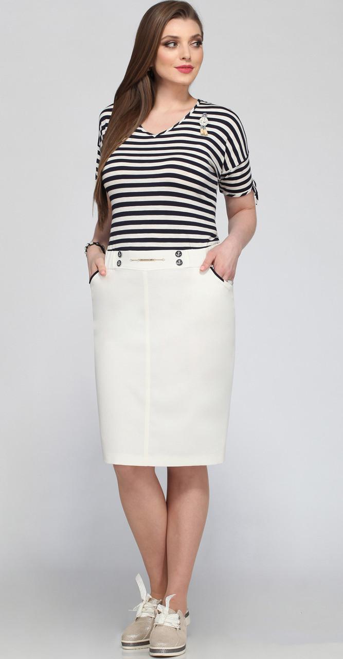 Платье Matini-31190, белый с полоской, 54