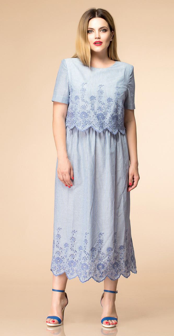 Платье Romanovich-1-1665, голубые тона, 52