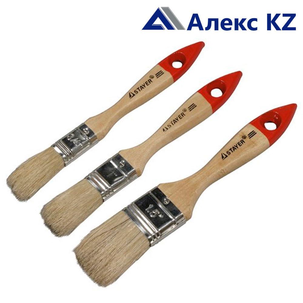 """Кисть плоская  50 мм. STAYER """"LASUR-STANDART"""", смешанная щетина, деревянная ручка."""