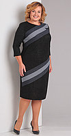 Платье Диамант-1342, темный с серым, 52