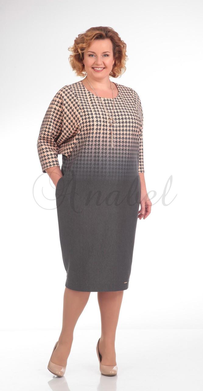 Платье Pretty-668, бежево-серый, 56